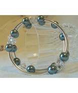 Czech Glass Pearls and Swarovski Crystals, Glass Sage Pearls and Clear Crystals - $42.00