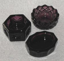 3 Mosser Glass Purple Open Salt Dips Pretty  - $15.00