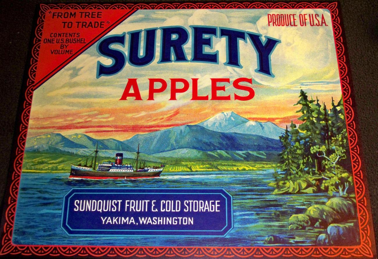 Steamboat Scene! Surety Crate Label, 1920's
