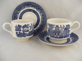 5 Churchill Blue Willow Cup & Saucers Very Good Gently Used Condition - $19.95