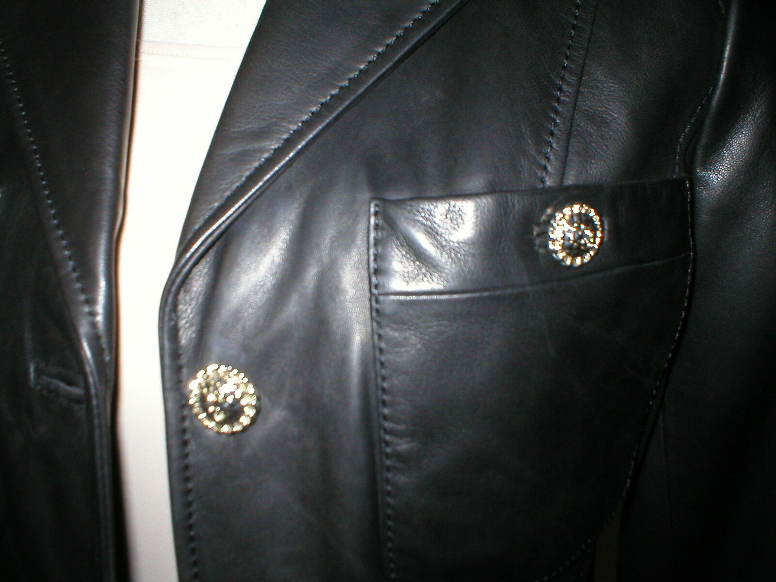 New Womens S Soft Karl Lagerfeld Paris Leather Jacket Black Silver Designer Lamb image 12