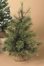 "GERSON 18"" MINIATURE PINE CHRISTMAS TREE w/ROUND PINE BURLAP BASE STYLE 1 - $13.88"