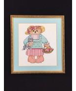 Girl Dressed Teddy Bear W Basket Kitten Cross Stitch Pattern Kit Finishe... - $29.48