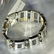 Estate Anne Klein Open Silvertone Rectangles with Spacer Beads Stretch B... - $10.39