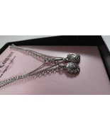 Juicy Couture Signed Layered Silver Chains Sparkle Heart Key Charm Necklace - $37.25