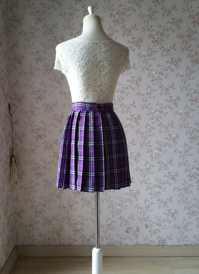 Plaid skirt purple 5