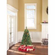 Pre-Lit 4 Feet Indiana Spruce Green Christmas Tree Multi-Color Lights FR... - $59.39