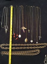 "Lot Of 15 Gold Silver Necklaces/Chains Pendants Chunky 14"" 16"" 18"" 20"" 2... - $8.91"