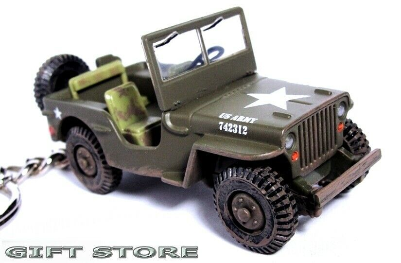 Primary image for KEY CHAIN USMC JEEP WILLYS GPW 4x4 WW2 KOREA & VIETNAM MARINES ARMY CAMO GP NEW