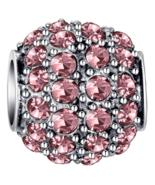 Pink Crystal Barrel Bead - $6.13