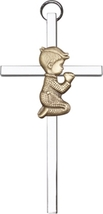 Praying Boy - Wall Cross - Antique Gold & Polished Silver - $40.99