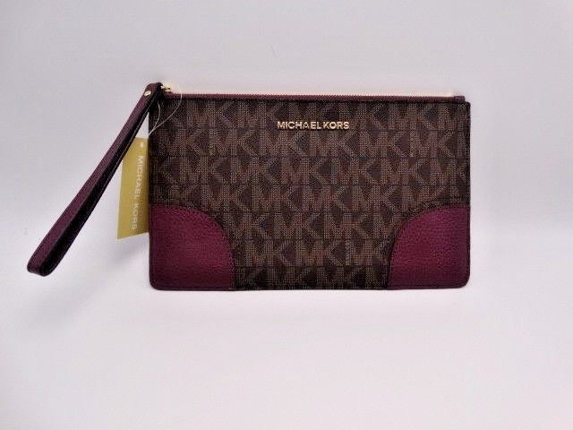 2f9d28a9610494 Michael Kors Hattie Brown Plum Lg Zip Clutch and 50 similar items. S l1600
