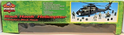 Black Hawk Helicopter 1:18 Scale Action Figure & Motorcycle Elite Operations  image 2