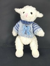 White Lamb Sheep Easter Plush Blue Bow Sweater Jointed Stuffed Animal So... - $13.36
