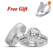 14K White Gold Fn Engagement White Sim Diamond Silver Trio Ring Set & Free Gift - $153.88