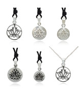 Lotus 92.5 Sterling Silver Pewter Brass Round Charm Necklace Pendant Jew... - $21.77+