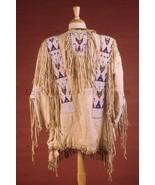 Men Native American Buckskin Beige Buffalo Leather Beaded Powwow War Shi... - $269.10