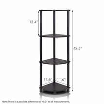Turn-n-Tube Multipurpose 4-Tier Corner Shelf Home Decor Storage Espresso... - $31.05
