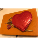 Auth Louis Vuitton Vernis Heart Coin Case Pink Zipper Leather LVB0515 - $253.44