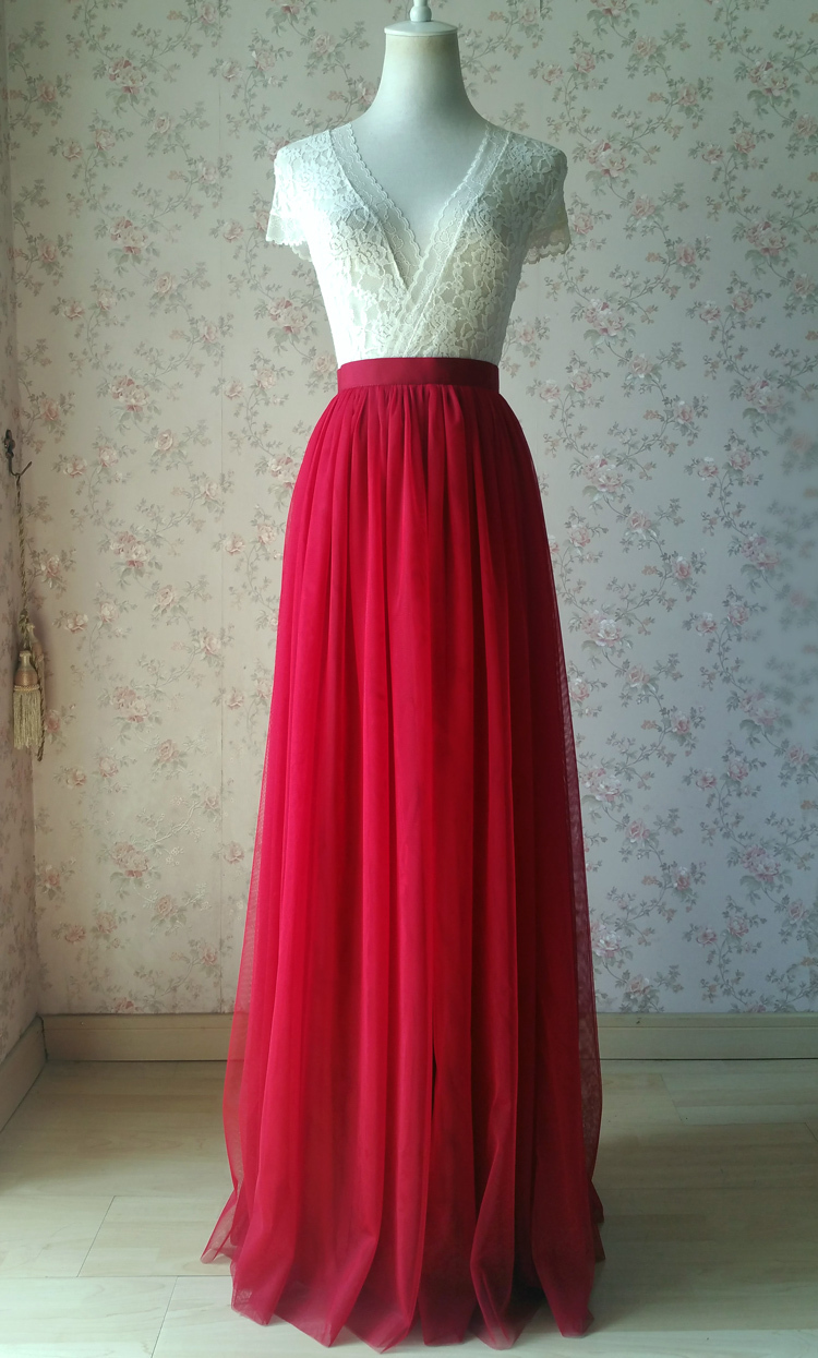Red tulle maxi bridesmaid wedding skirt 38 750 06