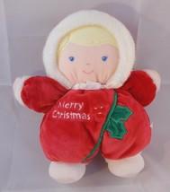 "Prestige Toy Merry Christmas Rattle Doll 8"" Blond Stuffed Lovey Stuffed   - $10.95"