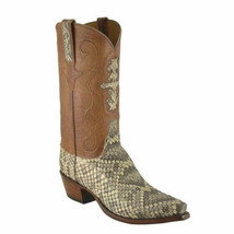 Handmade Men's Brown & Snake Print Leather Cowboy Mexican Western Taxes Boots