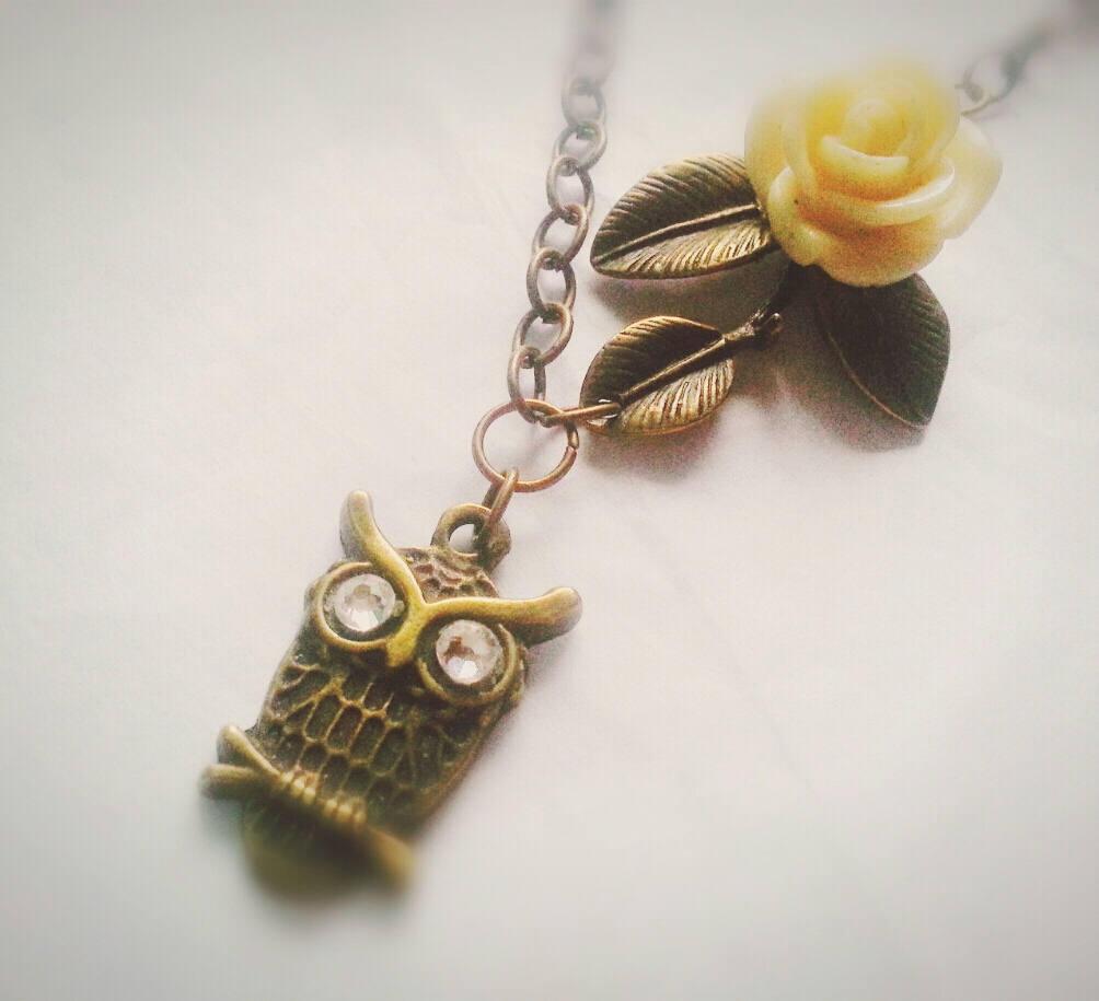 Antique Brass Owl Necklace Branch Necklace Owl Charm Necklace Antique Brass Bran