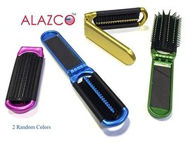 2 ALAZCO Folding Hair Brush With Mirror Compact Pocket Size (2 Folding B... - $14.87