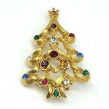 Vintage Monet Christmas Tree Brooch Pin Rhinestones Goldtone Rhinestone ... - $19.79