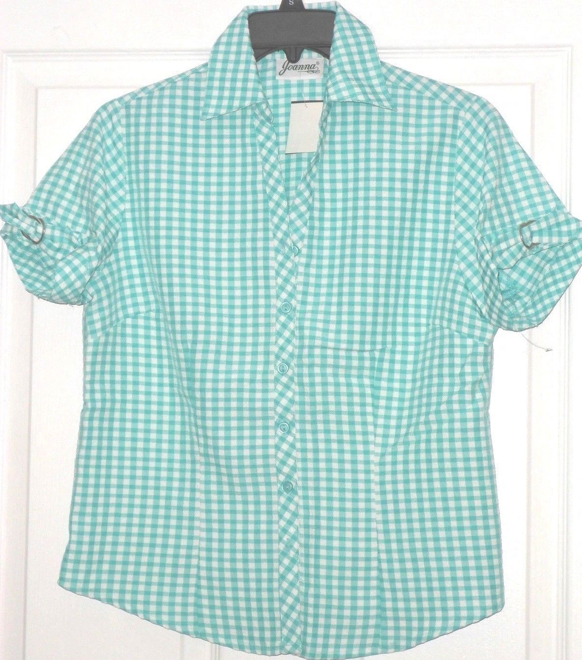 JOANNA BLOUSE SIZE S AQUA WHITE CHECK LIGHTWEIGHT NWT