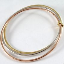 TRIPLE 18K ROSE YELLOW WHITE GOLD BANGLE RIGID BRACELET, SMOOTH, MADE IN ITALY image 3