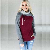 High quality warm women casual hooded patchwork sweatshirt long sleeve p... - $27.70+