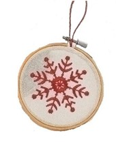 "Roman 4.5"" White and Red Embroidered Snowflake in Hoop Loom Christmas Or... - $11.62"