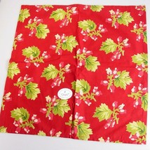 Christmas napkins fabric red berries Winterberry pattern april cornell oops - $19.70