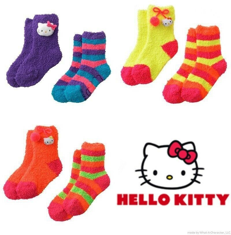 Primary image for HELLO KITTY 2-Pack Super-Soft Plush Slipper Socks Toddlers/Girls Ages 3-10 $14