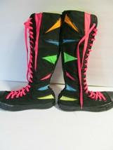 Knee High Converse Zip Up Black Neon Geometric Sz Womens 9 color block - $108.90