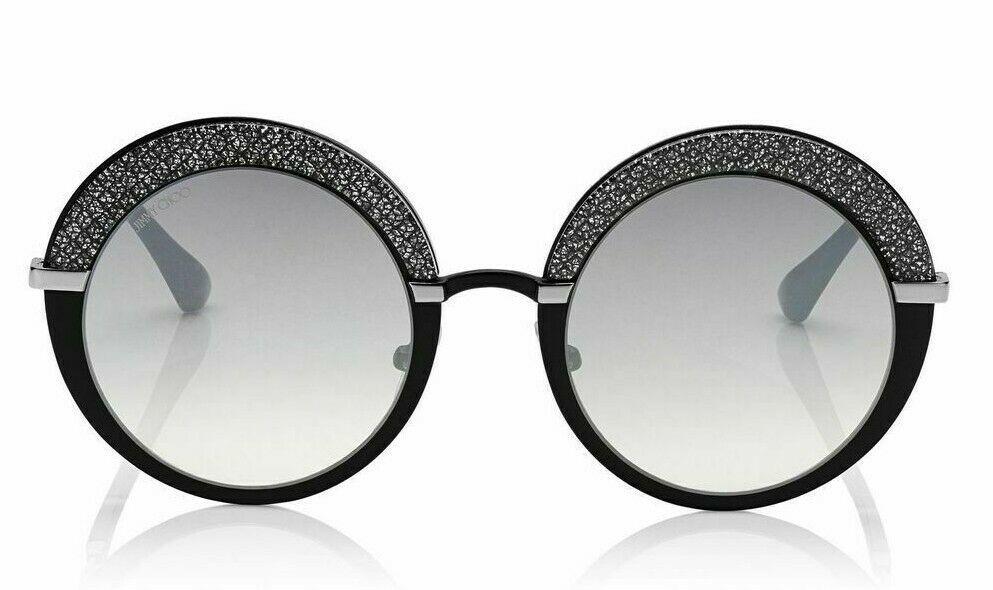 Jimmy Choo GOTHA IXA Round Glitter Sunglasses Black Palladium/Silver Mirror NEW - $123.70