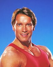 Arnold Schwarzenegger muscular pose in red workout vest 1980's 16x20 Canvas - $69.99