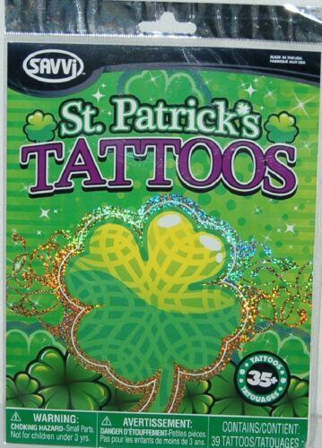 Savvi St Patricks 39 Tattoos Celtic Assortment Package 6 different Sheets