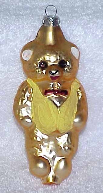 Primary image for Vintage Glass Teddy Bear Christmas Ornament w/ Yellow Vest - NOS Germany