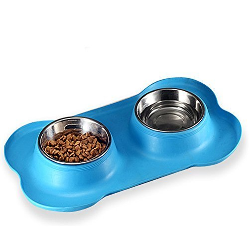 NACOCO Dog Bowl Stainless Steel Pet Double Bowls Food and Water Cat Non-slip Mat - $13.85