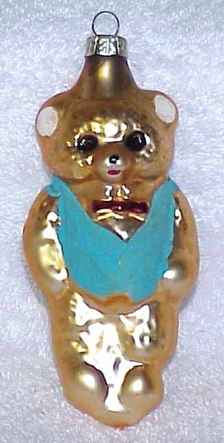 Vintage Glass Teddy Bear Christmas Ornament w/ Blue Vest - NOS Germany