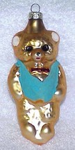 Vintage Glass Teddy Bear Christmas Ornament w/ Blue Vest - NOS Germany - $10.00