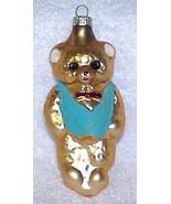 Vintage Glass Teddy Bear Christmas Ornament w/ Blue Vest - NOS Germany - $10.00