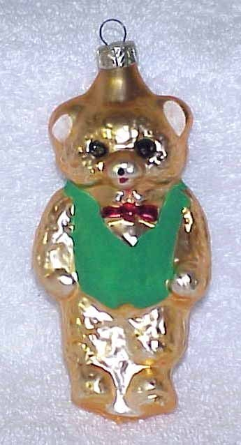Primary image for Vintage Glass Teddy Bear Christmas Ornament w/ Green Vest - NOS Germany