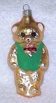 Vintage Glass Teddy Bear Christmas Ornament w/ Green Vest - NOS Germany - $10.00