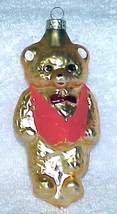 Vintage Glass Teddy Bear Christmas Ornament w/ Red Vest - NOS Germany - $10.00