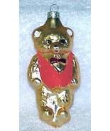 Vintage Glass Teddy Bear Christmas Ornament w/ Red Vest - NOS Germany - $10.00