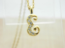 Clear Rhinestone Gold Tone E Initial Pendant Necklace Vintage - $19.79