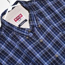 MEN'S WRANGLER LONG SLEEVE SHIRT Size L - Large - BLUE & WHITE CHECK / P... - $15.83